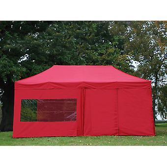 Faltzelt FleXtents PRO 3x6m Rot, mit 6 Seitenwänden