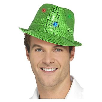 Luz verde de adultos hasta lentejuelas fieltro sombrero disfraces accesorios