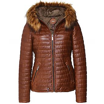 Oakwood Happy Faux Fur Trim Quilted Leather Jacket