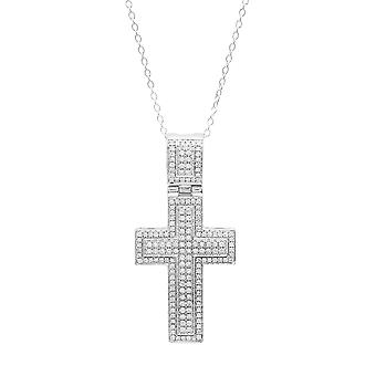 Dazzlingrock Collection 0.70 Carat (ctw) 10K Round White Diamond Men's Cross Pendant 3/4 CT (Gold Chain Included), White Gold