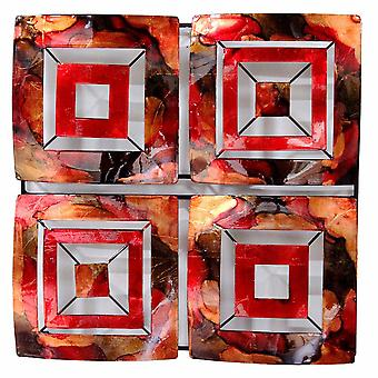 4-Panel Square Metal Wall Decor - Metal, Lacquered Copper, Red And Gold