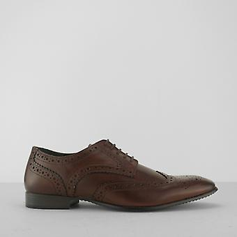 Silver Street London Portman Mens Leather Derby Brogue Shoes Brown