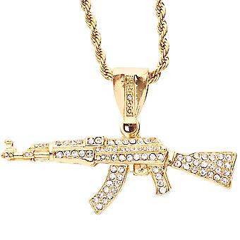 Iced out bling hiphop hanger - AANVALSGEWEER goud