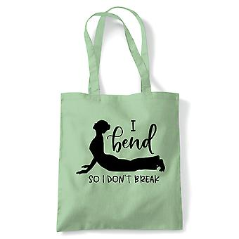 Ich biege so ich Don't Break Tote | Yoga Yogi Sutra Mantra Stress Relief Relax Pose | Wiederverwendbare Shopping Baumwolle Leinwand lang behandelt natürliche Shopper Eco-Friendly Fashion