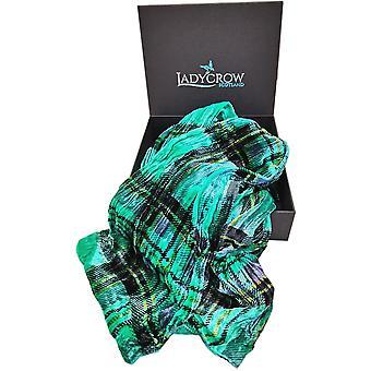 Tartan Silk Velvet Collection Scarf by Ladycrow Scotland - Jade