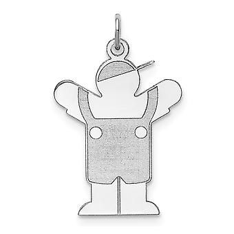925 Sterling Silver Flat Solid Polished Engravable Love Kid Charm Pendant Necklace Jewelry Gifts for Women