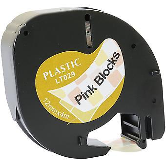 Prestige kaseta™ kompatybilna czarna na różowych blokach plastikowa taśma (12mm x 4m) do dymo letratag lt110t, lt100h, lt100t, qx50, xr, xm, 2000, plus