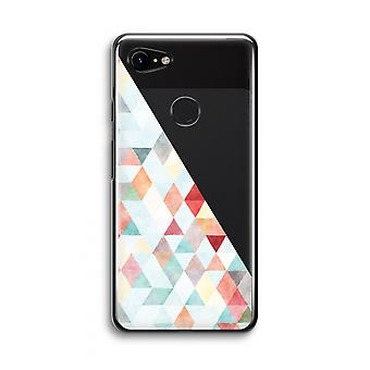Google Pixel 3 Transparent Case (Soft) - Coloured triangles pastel