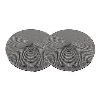 Alfresco Woven Circular Seat Pad, Charcoal Grey Set of 2