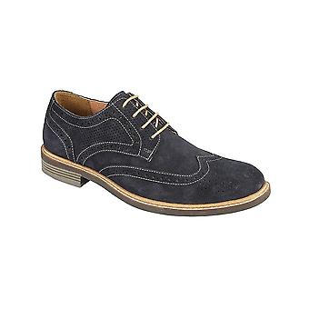 Roamers Navy Suede 4 Eye Brogue Shoe Textile/leather Lining Leather Sock Tpr Sole