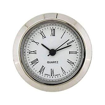 Clock movement quartz mini insertion heads Ø25mm chrome roman
