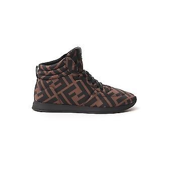 Fendi 8e7045a2lyf0r7v Damen's braun Leder Hi Top Sneakers