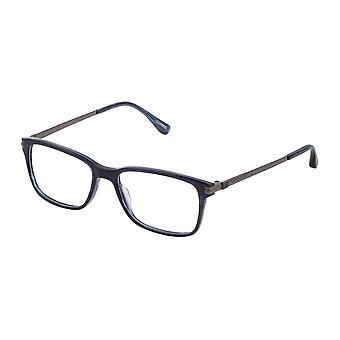 Dunhill VDH183M 09N4 Shiny Striped Blue Glasses