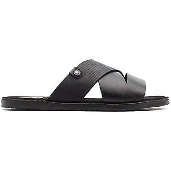 Base London Mens Alecco Waxy Emboss Leather Slider Sandals