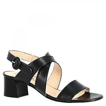 Leonardo Shoes Women's handmade mid heels sandals blue calf leather with buckle