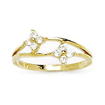 14k Yellow Gold CZ Cubic Zirconia Simulated Diamond Size 3 Elegant for boys or girls Baby Ring