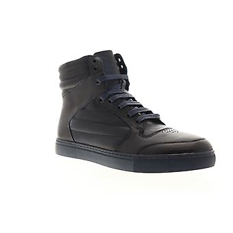 Zanzara Vacdes  Mens Blue Leather Lace Up High Top Sneakers Shoes