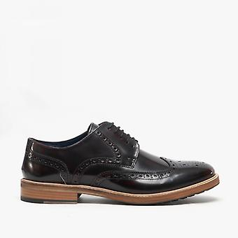 Roamers Shelton Mens Leather Hi-shine Brogues Oxblood