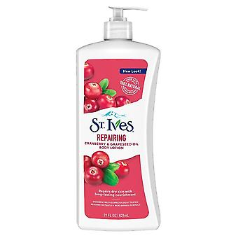 St. ives intensive healing body lotion, cranberry seed & grape seed oil, 21 oz