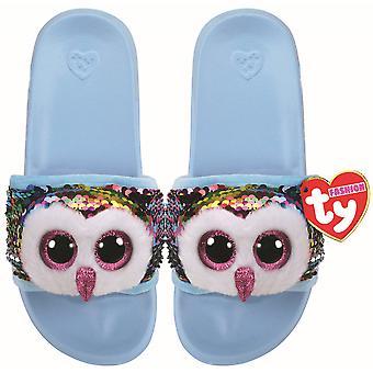 TY Flippable Sequin Flip Flops - Owen The Owl - Size Large (3-5)