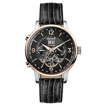 Ingersoll The Grafton Automatic Balance Wheel Rose Gold IP Case Black Leather Strap Mens Watch I00702 42mm