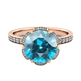 2.50 ctw Aquamarine Ring with Diamonds 14K Rose Gold Flower Vintage Halo