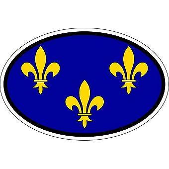 Autocollant sticker ovale oval drapeau code pays fleur de lys roi de france