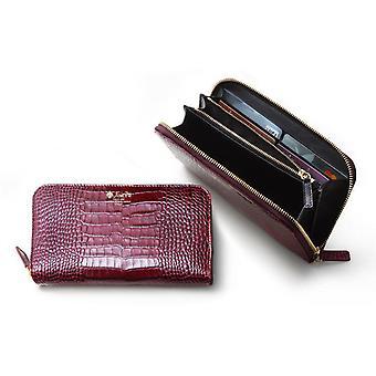 Women-apos;s Burgundy Crocodile Embossed Italian Leather Zip Around Wallet