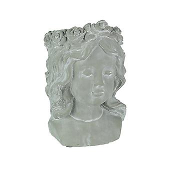 Whitewashed Gray Concrete Flower Girl Wall Mount Head Planter 9.25 Inches High