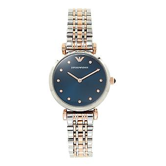 Armani Watches Ar11092 Two Tones Rose Gold Gold & Silver, Blue Faced Ladies Watch