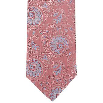 Michelsons London weichen Paisley Polyester Krawatte - Coral-Pink