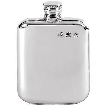 Orton West 4oz Pewter Screw Top Hip Flask - Silver