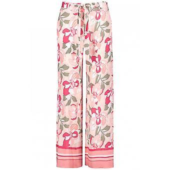 Taifun rosa Floral pantalones de pierna ancha