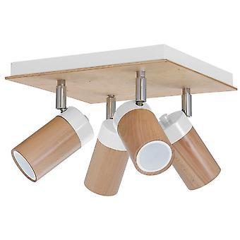 Lámpara de techo Baron Color Blanco, Madera Metálica, Madera 38x38x18 cm
