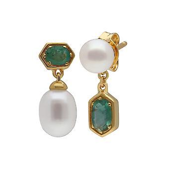 Modern Pearl & Emerald ristiriitaisia Drop korvakorut kullattu Sterling Silver 270E030203925