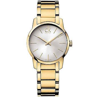 Calvin Klein K2G23546 City Silver Dial Yellow Gold-tone Ladies Watch