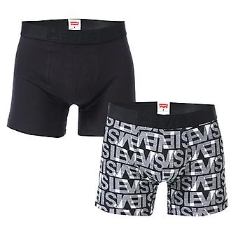 Men's Levis All Over Print 2 Pack Boxer Shorts in Black