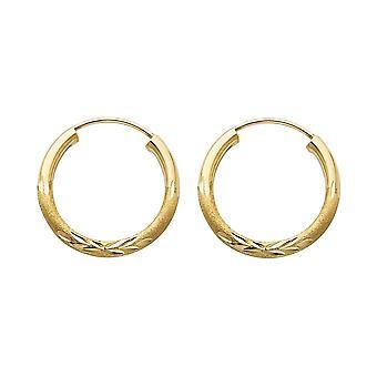 14k giallo oro 2mm Budded Sparkle Cut Endless Hoop 17mm Orecchini gioielli regali per le donne - .7 Grams