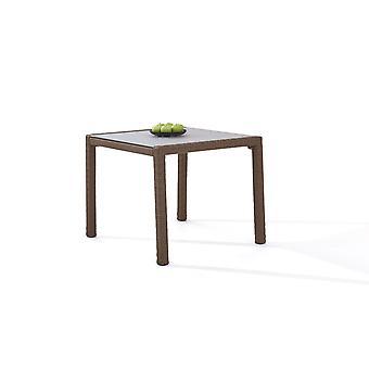 Polyrattan Table à manger 90 cm - brun
