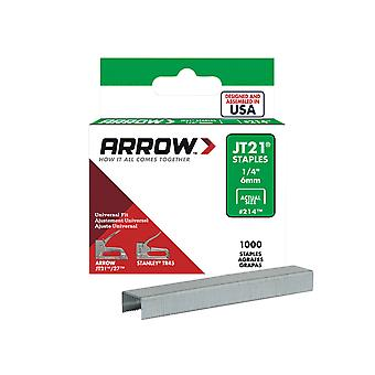 Arrow JT21 T27 Staples 6mm (1/4in) Box 1000 ARRJT2114S