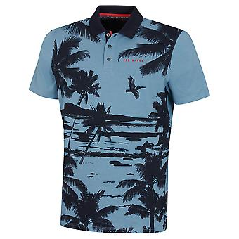 Ted Baker Mens 2020 Green Printed Graphic Fashion Silhouette Golf Polo Shirt
