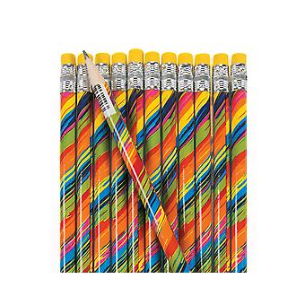24 Rainbow Print Lead Pencils Party Bag Fillers | Kids Stationery Back to School