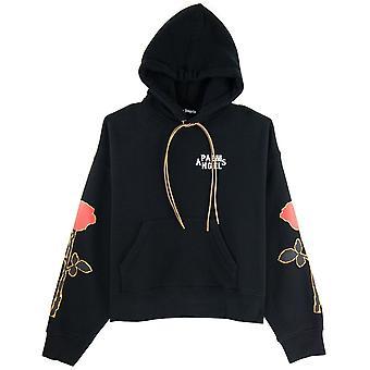 PALM ANGELS Palm Angels Side Roses Print Hooded Sweatshirt Black/red