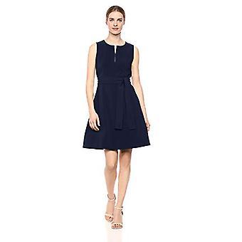 Marke - Lark & Ro Frauen's ärmellose Split Rundhalsgürtel A-Linie Kleid mit Taschen, Mitternacht Marine 4