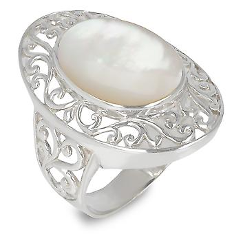 ADEN 925 Sterling Silver White Mother-of-pearl Oval Shape Ring (id 3364)
