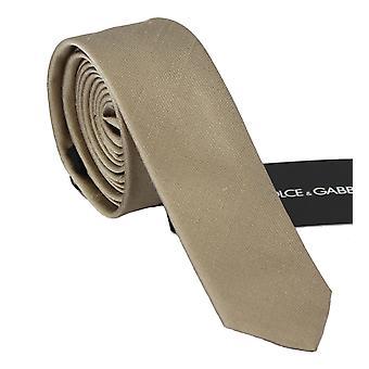 Dolce & Gabbana Katı Açık Kahverengi %100 İpek Klasik Geniş Kravat - KRA7357872