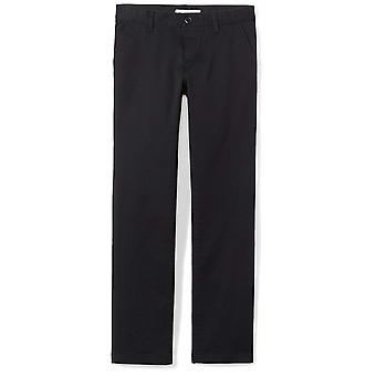 Essentials Big Girls' Flat Front Uniform Chino Pant, Black,10