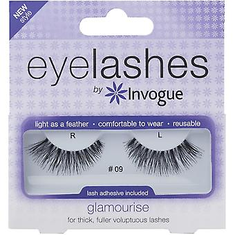Invogue Glamourise False Synthetic Eyelashes - #9 - Reusable and Easy to Apply