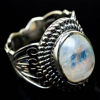 Rainbow Moonstone Ring Size 8 (925 Sterling Silver)  - Handmade Boho Vintage Jewelry RING24741