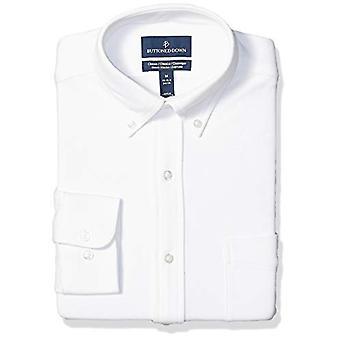 BUTTONED DOWN Men's Classic Fit Supima Cotton Stretch Knit Dress Shirt, White, 4XL